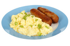 Scrambled Eggs with Sausages Stock Photo