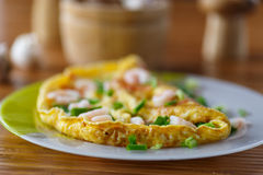 Scrambled eggs with shrimp Stock Photography