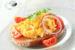 Open faced egg sandwich Stock Photos