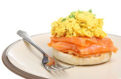 Scrambled Eggs with Smoked Salmon Royalty Free Stock Images
