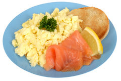 Scrambled Eggs with Smoked Salmon Royalty Free Stock Photography