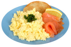 Scrambled Eggs with Smoked Salmon Royalty Free Stock Photos