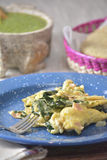 Scrambled eggs with spinach Royalty Free Stock Photography
