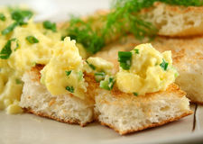 Scrambled Eggs On Toast Stock Photography