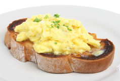 Scrambled Eggs on Toast Stock Photo