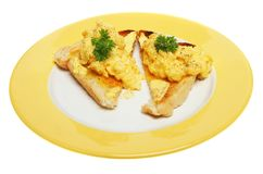 Scrambled eggs on toast Royalty Free Stock Photo