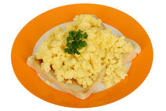 Scrambled Eggs on Toast Breakfast on a plate Stock Photos