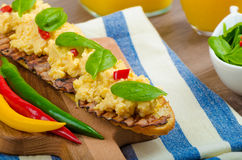 Scrambled eggs with toast and fresh salad Royalty Free Stock Photos