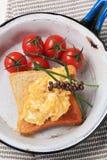 Scrambled eggs on toast Royalty Free Stock Photo