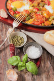 Scrambled eggs with tomato and peppers traditional breakfast. Scrambled eggs with tomato pepper traditional breakfast royalty free stock photo