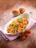 Scrambled eggs with tomatoes Stock Photo