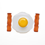 Scrambled eggs vector illustration of omelette with bacon. On white Stock Image