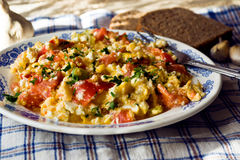 Scrambled eggs with vegetables Royalty Free Stock Image