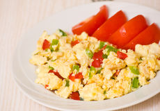 Scrambled eggs with vegetables Stock Photos