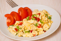 Scrambled eggs with vegetables Royalty Free Stock Images