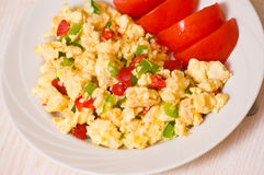 Scrambled eggs with vegetables Stock Photography