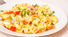 Free Scrambled Eggs With Ham And Vegetables Stock Image - 34011801