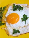 Scrambled eggs. On a yellow plate Royalty Free Stock Photo
