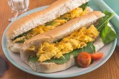 Scrambled eisandwich - Twee broodjes met scrambled ei en stock afbeelding
