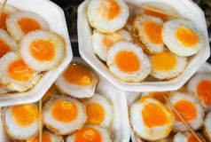 Scrambled quail eggs at the eastern market close-up Stock Photography