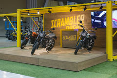 Scrambler Ducati stand Stock Photos