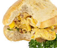 Scrampled eggs on a roll (with clipping path) Royalty Free Stock Photos