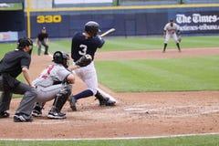 Scranton Wilkes Barre Yankees batter Daniel Brewer. Swings at a pitch Stock Image