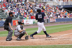 Scranton Wilkes Barre Yankees batter Jesus Montero. Swings at a pitch Royalty Free Stock Image