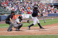 Scranton Wilkes Barre Yankees batter Jesus Montero. Swings at a pitch Stock Photography