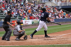 Scranton Wilkes Barre Yankees Jesus Montero. Swings at a pitch Stock Photography