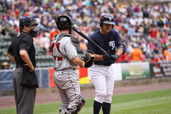 Scranton Wilkes Barre Yankees Jesus Montero. Steps up to the plate Royalty Free Stock Image