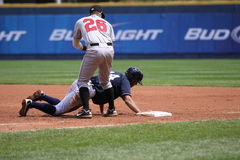 Scranton Wilkes Barre Yankees Justin Maxwell. Dives back to first base Royalty Free Stock Images