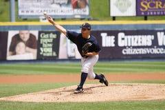 Scranton Wilkes Barre Yankees pitcher Adam Warren. Throws a pitch Stock Photos