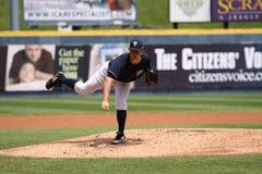 Scranton Wilkes Barre Yankees pitcher Adam Warren. Follows through Royalty Free Stock Image