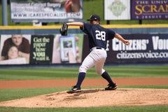Scranton Wilkes Barre Yankees pitcher Adam Warren. Mid wind-up Stock Image