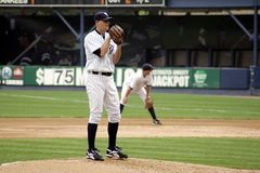 Scranton Wilkes Barre Yankees Pitcher looks in. For a sign Stock Photos