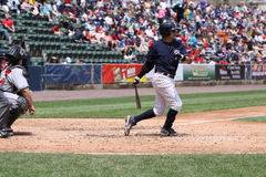 Scranton Wilkes Barre Yankees Ramiro Pena. Swings at a pitch Royalty Free Stock Image