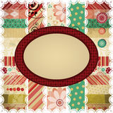 Scrap background with an oval frame. Royalty Free Stock Image