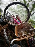 The scrap bicycle with tire lying on the garbage dump Royalty Free Stock Photography