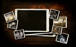 Scrap-booking  background on dark wood Royalty Free Stock Images