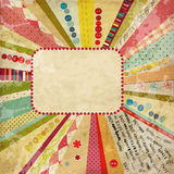 Scrap-booking card. Scrap template of vintage worn distressed design Stock Images