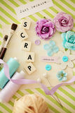 Scrap booking craft materials. Making of scrapbooking greeting card Royalty Free Stock Image