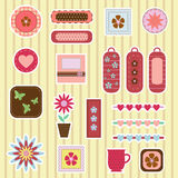 Scrap-booking elements. On striped background Royalty Free Stock Photography