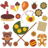 Scrap booking set with different objects. On white background illustration Stock Photo