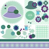 Scrap booking set of objects on white. Background illustration Royalty Free Stock Photos