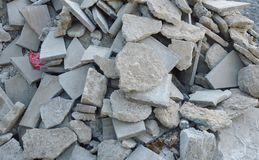 Scrap of brick from destruction building on ground Royalty Free Stock Photos