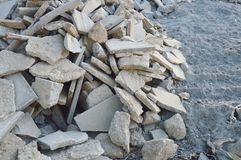 Scrap of brick from destruction building on ground Royalty Free Stock Photography