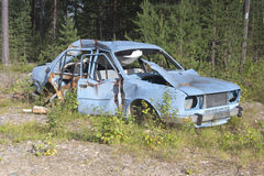 Scrap car. In the nature Finnish Lapland royalty free stock photography