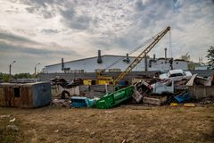 Scrap car recycling yard. Utilizing of old cars Royalty Free Stock Images