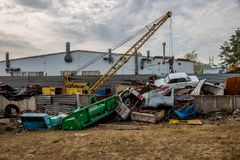 Scrap car recycling yard. Utilizing of old cars Stock Photography